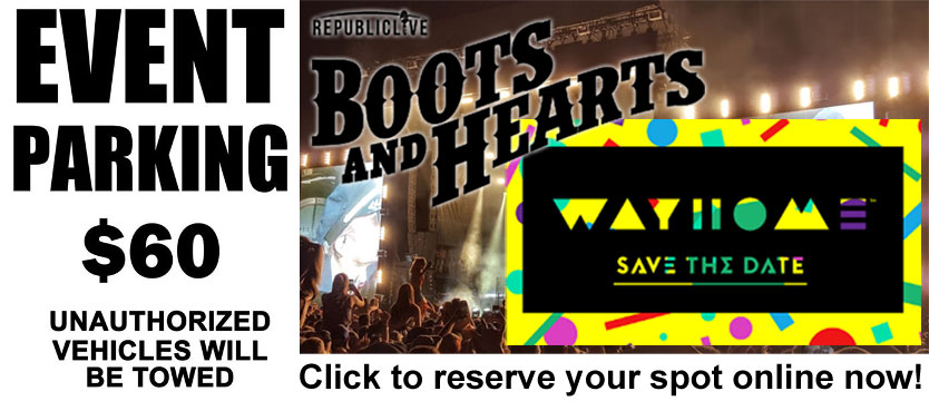 Event Parking - WayHome & Boots and Hearts - Reserve your spot online
