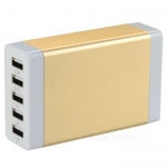 5-USB Aluminum Shell Charger Hub - Gold